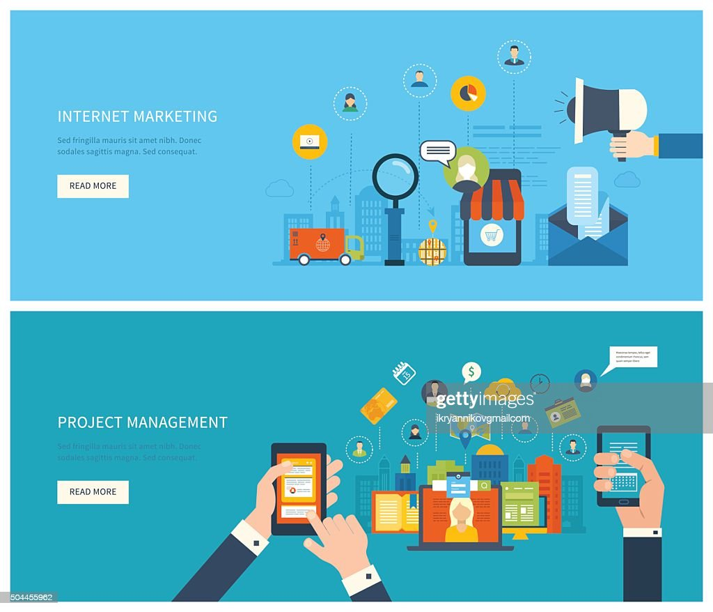 Project management and internet marketing concept.