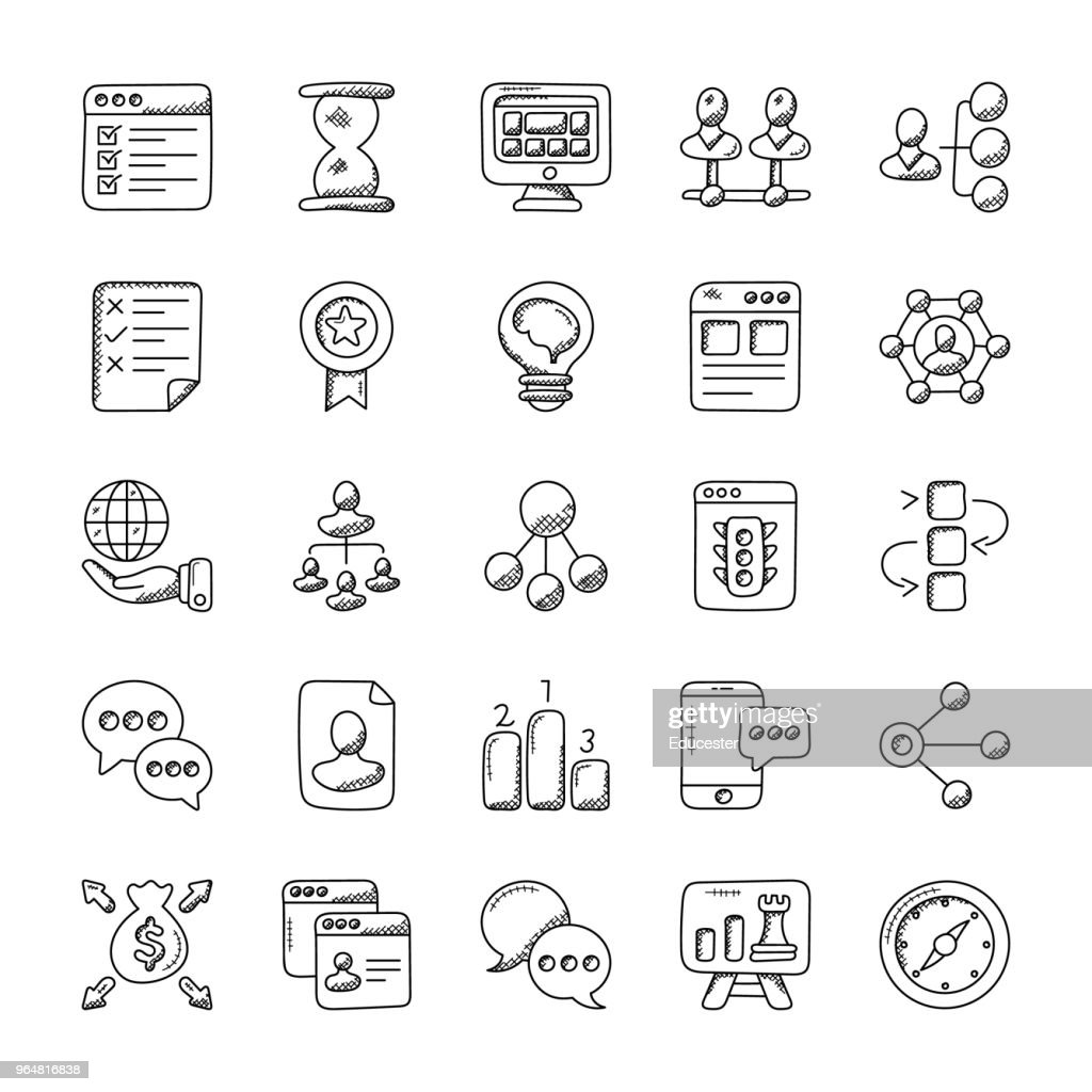 Project Management Doodle Icons Set