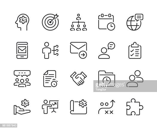 project management line icons - cog stock illustrations