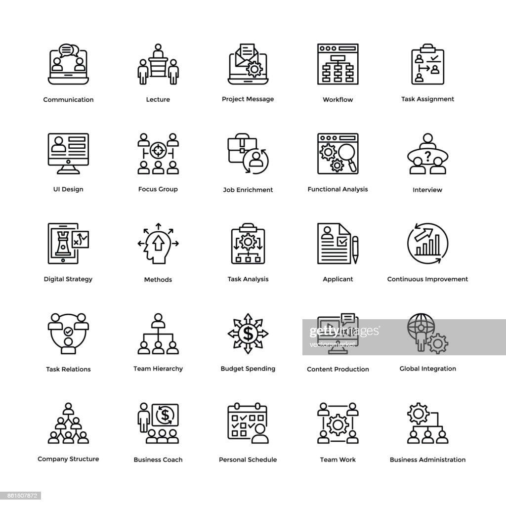 Project Management Line Vector Icons Set 1