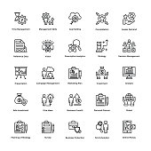 Project Management Line Vector Icons Set 13
