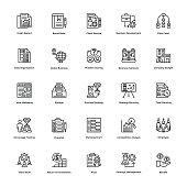 Project Management Line Vector Icons Set 21