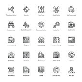 Project Management Line Vector Icons Set 23
