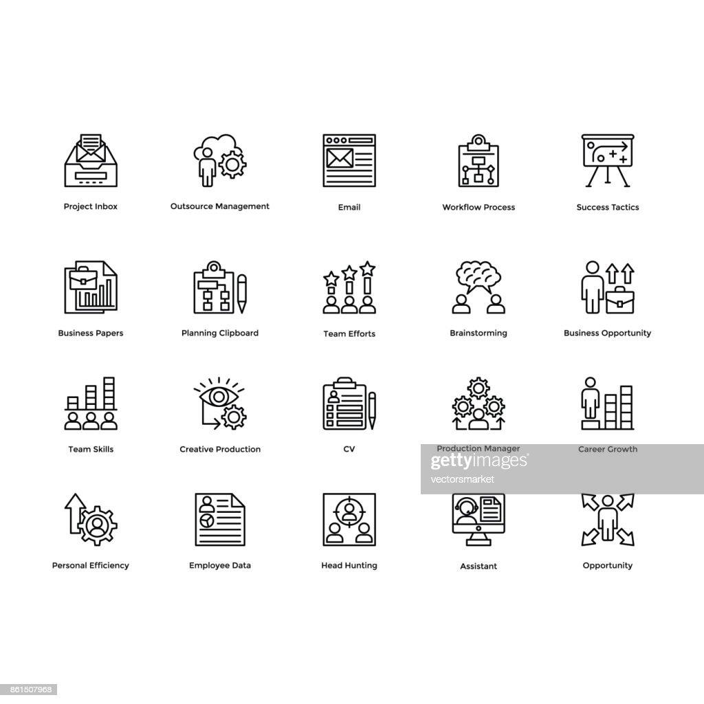 Project Management Line Vector Icons Set 25