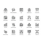 Project Management Line Vector Icons Set 25