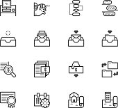 Project management vector icon set on white background