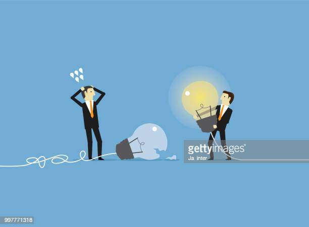 project management - the grass is always greener stock illustrations, clip art, cartoons, & icons