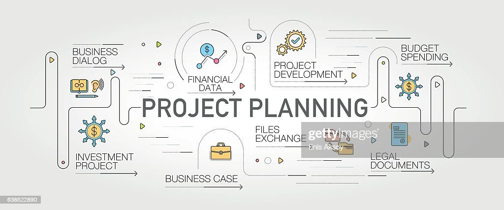 Project Planning banner and icons : Stock Illustration