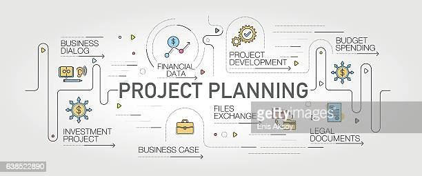 project planning banner and icons - legal document stock illustrations, clip art, cartoons, & icons