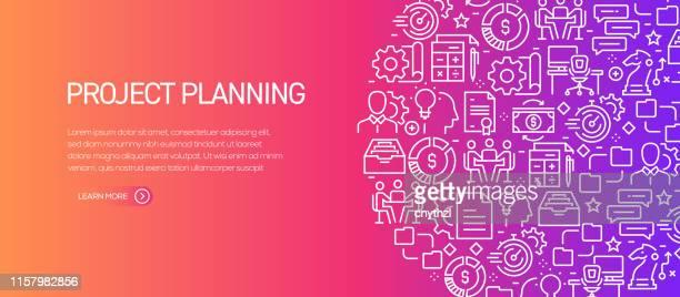 illustrations, cliparts, dessins animés et icônes de modèle de bannière de planification de projet avec des icônes de ligne. illustration moderne de vecteur pour la publicité, l'en-tête, le site web. - brainstorming