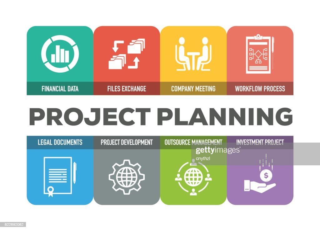 Project Planning Colorful Icons Set : stock illustration