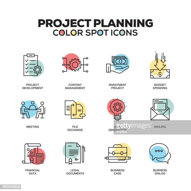 Project Planning icons. Vector line icons set. Premium quality. Modern outline symbols and pictograms.