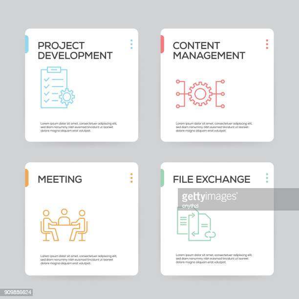 project planning infographic design template - presentation stock illustrations