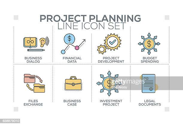 project planning keywords with line icons - legal document stock illustrations, clip art, cartoons, & icons