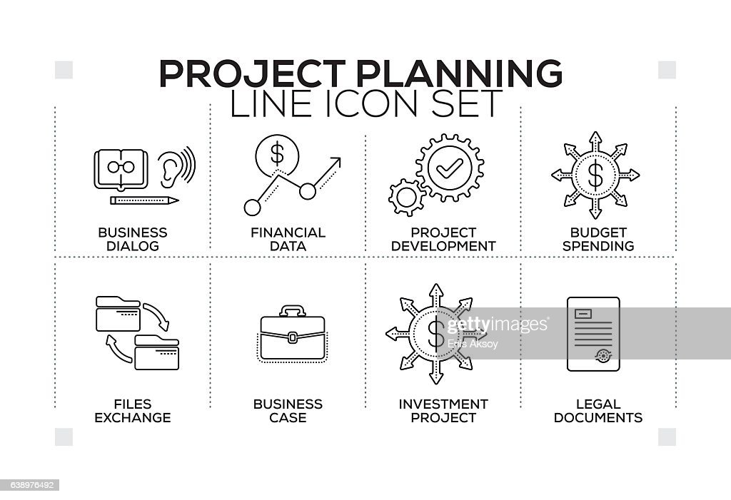 Project Planning keywords with monochrome line icons : stock illustration