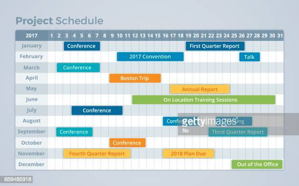 illustrazioni stock, clip art, cartoni animati e icone di tendenza di project schedule calendar timeline - linea del tempo supporto visivo