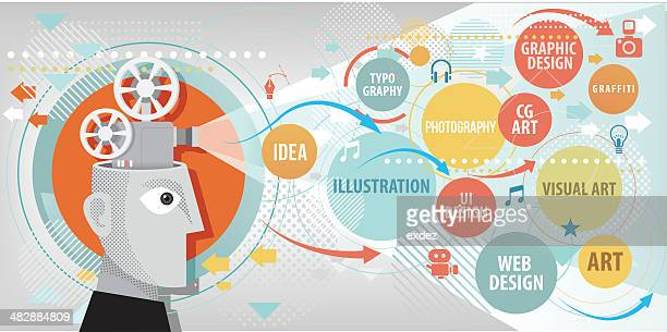 projecting creative terms - graphic designer stock illustrations