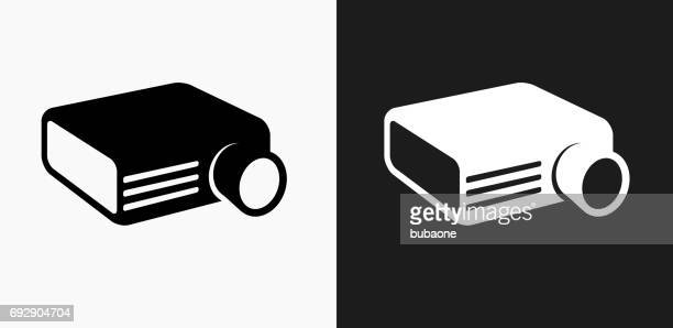 Projector Icon on Black and White Vector Backgrounds