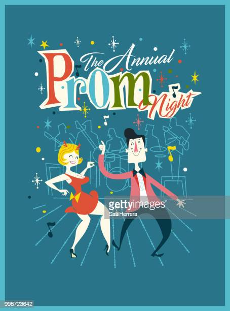 prom eve - dancing stock illustrations