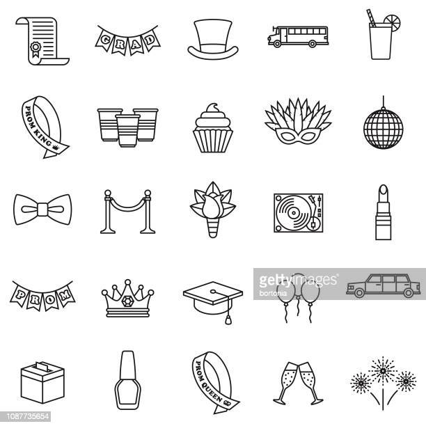 prom icon set - roped off stock illustrations