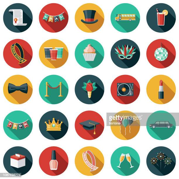 prom icon set - sash stock illustrations