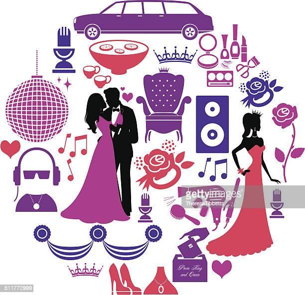 prom icon set - prom stock illustrations