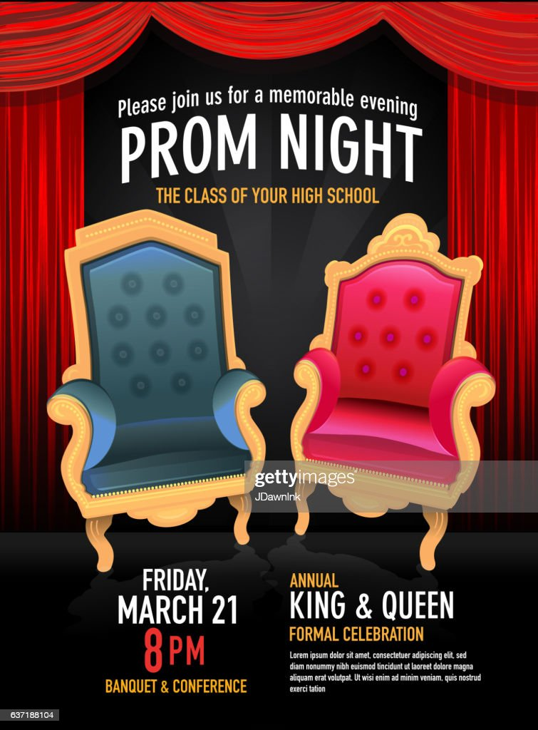 Prom Night King And Queen Design Template With Red Curtain Vector