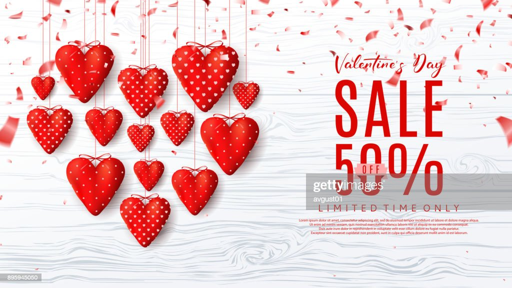 Promo Sale Web Banner with Red Fabric Hearts