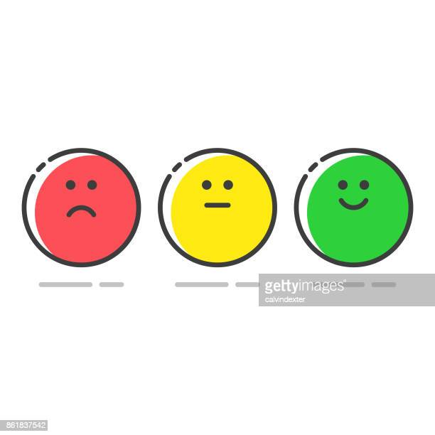 promoter score icons set - smiling stock illustrations