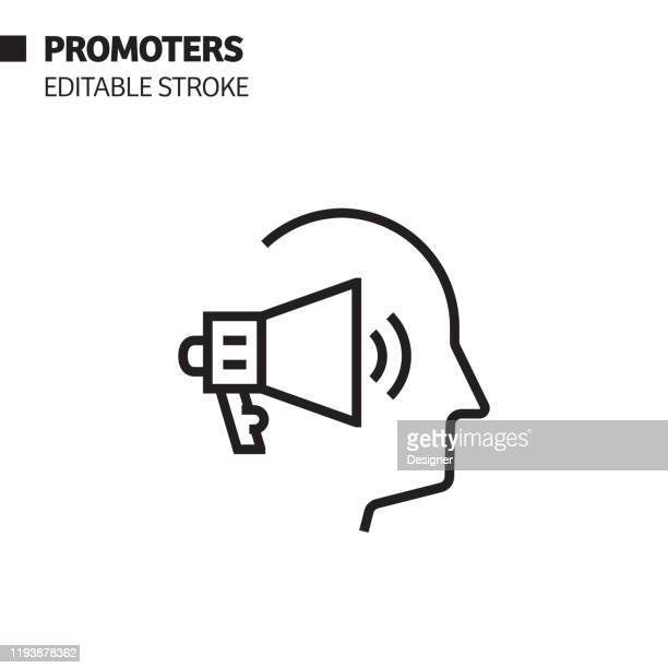 promoters line icon, outline vector symbol illustration. pixel perfect, editable stroke. - promoter stock illustrations