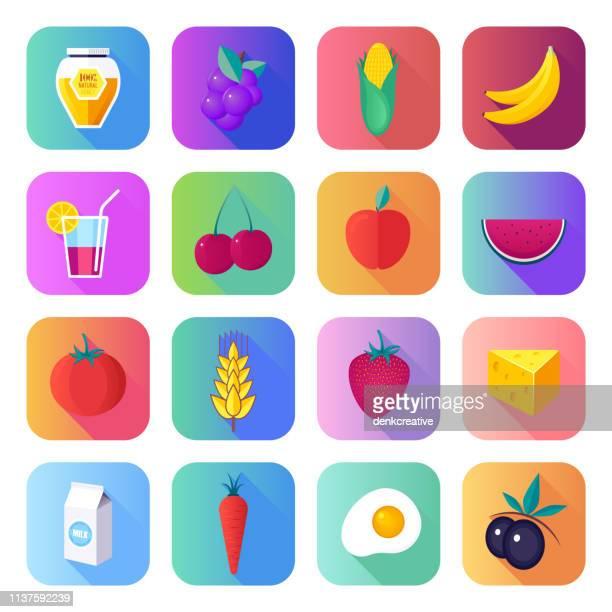 ilustrações, clipart, desenhos animados e ícones de promovendo a agricultura sustentável flat liso gradiente estilo vector icons set - produto local