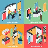Promotion equipment vector flat isometric poster, banner set