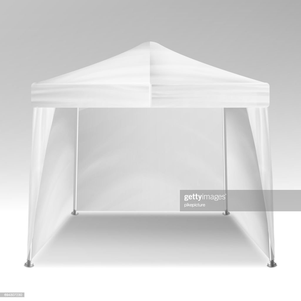 Promotional Tent Vector. Advertising Outdoor Event Trade Show Pop-Up Tent Mobile Advertising Marquee. Mockup, Template. Vector Illustration