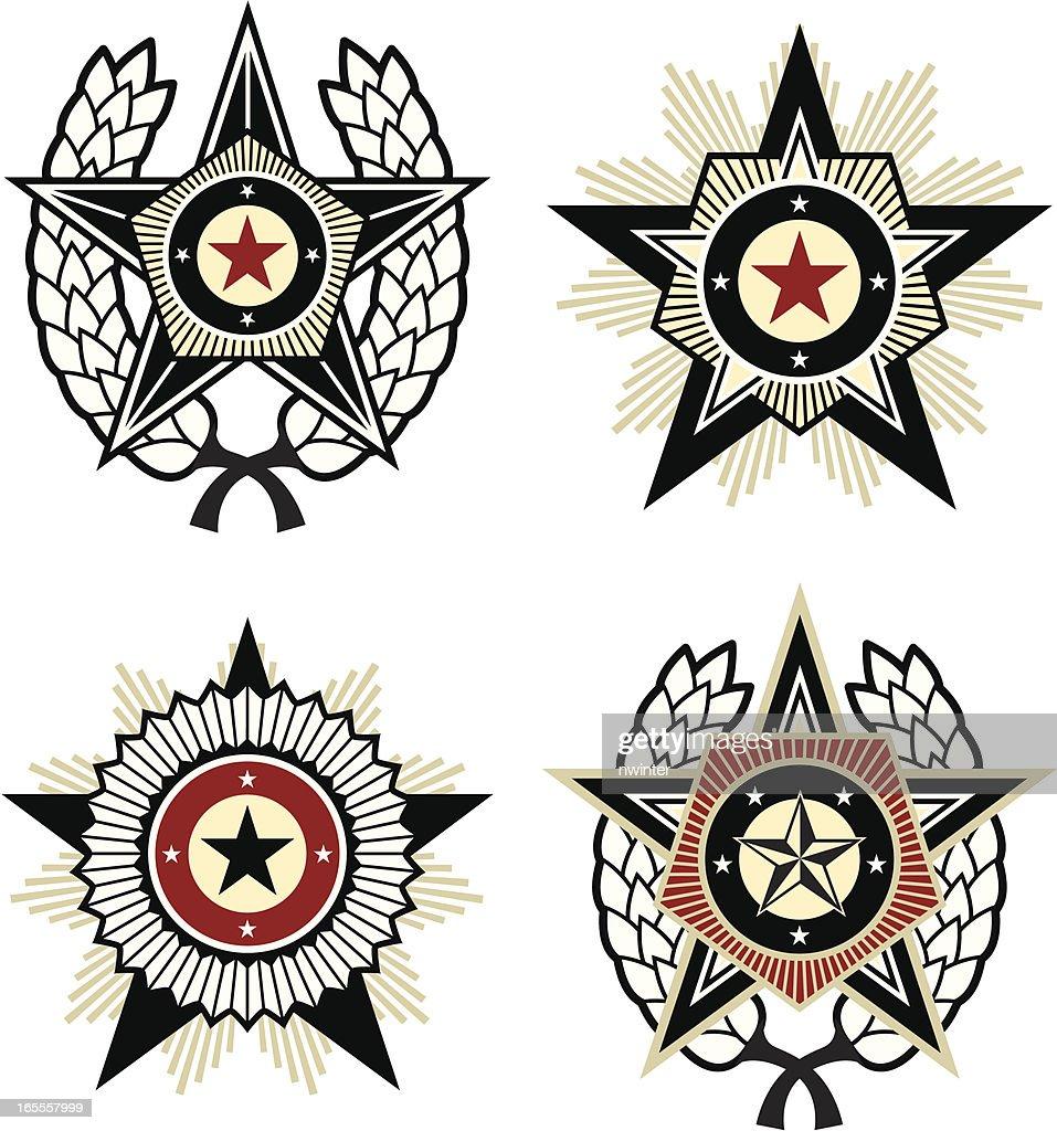 Propaganda style emblems : Stockillustraties