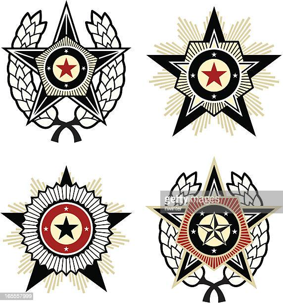 propaganda style emblems - russia stock illustrations