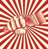 Propaganda Woodcut Paintbrush Fist Hand