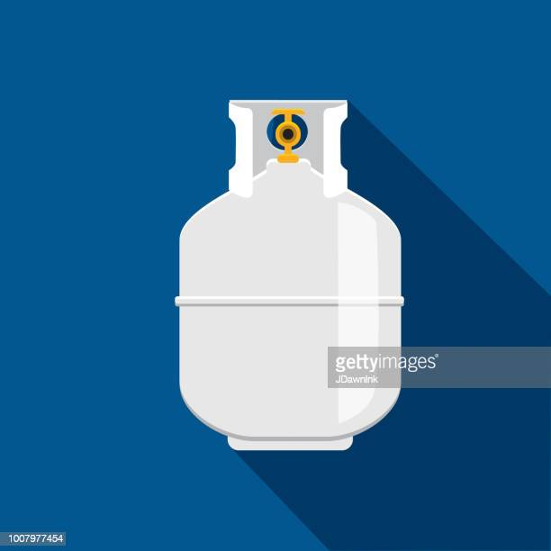 propane tank flat design bbq or barbecue  themed icon with shadow - tank stock illustrations, clip art, cartoons, & icons