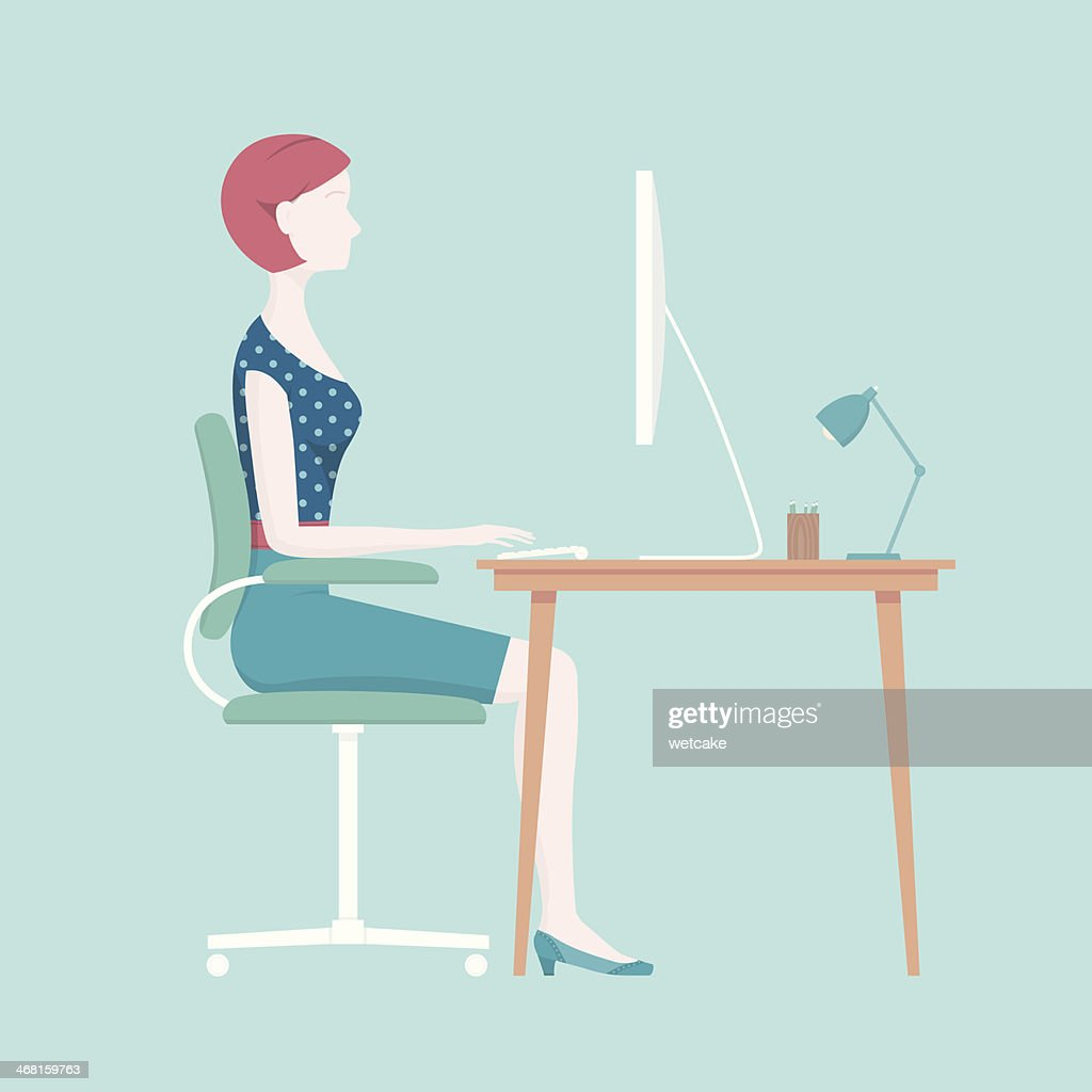 Proper Sitting Posture : stock illustration