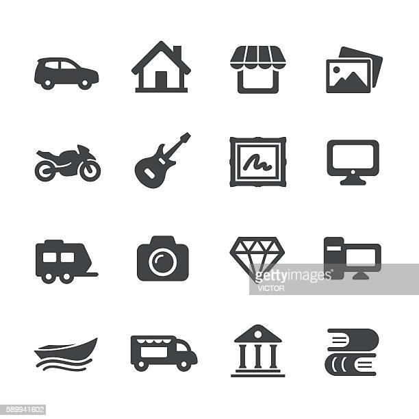 illustrations, cliparts, dessins animés et icônes de property insurance icons - acme series - camping car