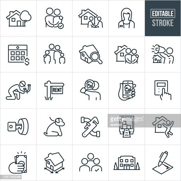property management thin line icons - editable stroke - commercial real estate sign stock illustrations