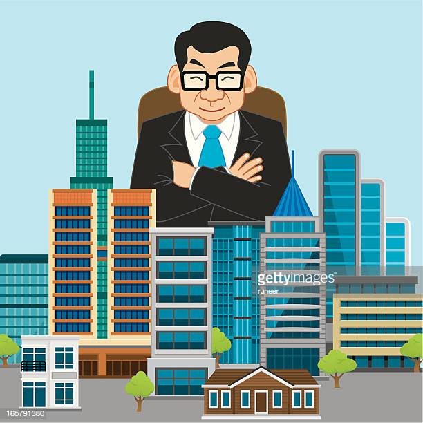 property tycoon (asian) - millionnaire stock illustrations, clip art, cartoons, & icons