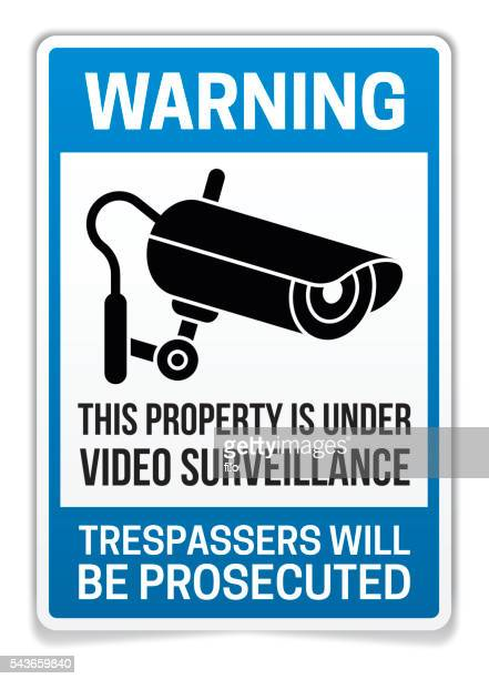 property under video surveillance warning sign - security camera stock illustrations