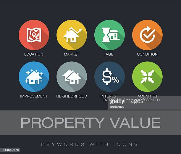 ilustraciones, imágenes clip art, dibujos animados e iconos de stock de property value keywords with icons - casa alquilada