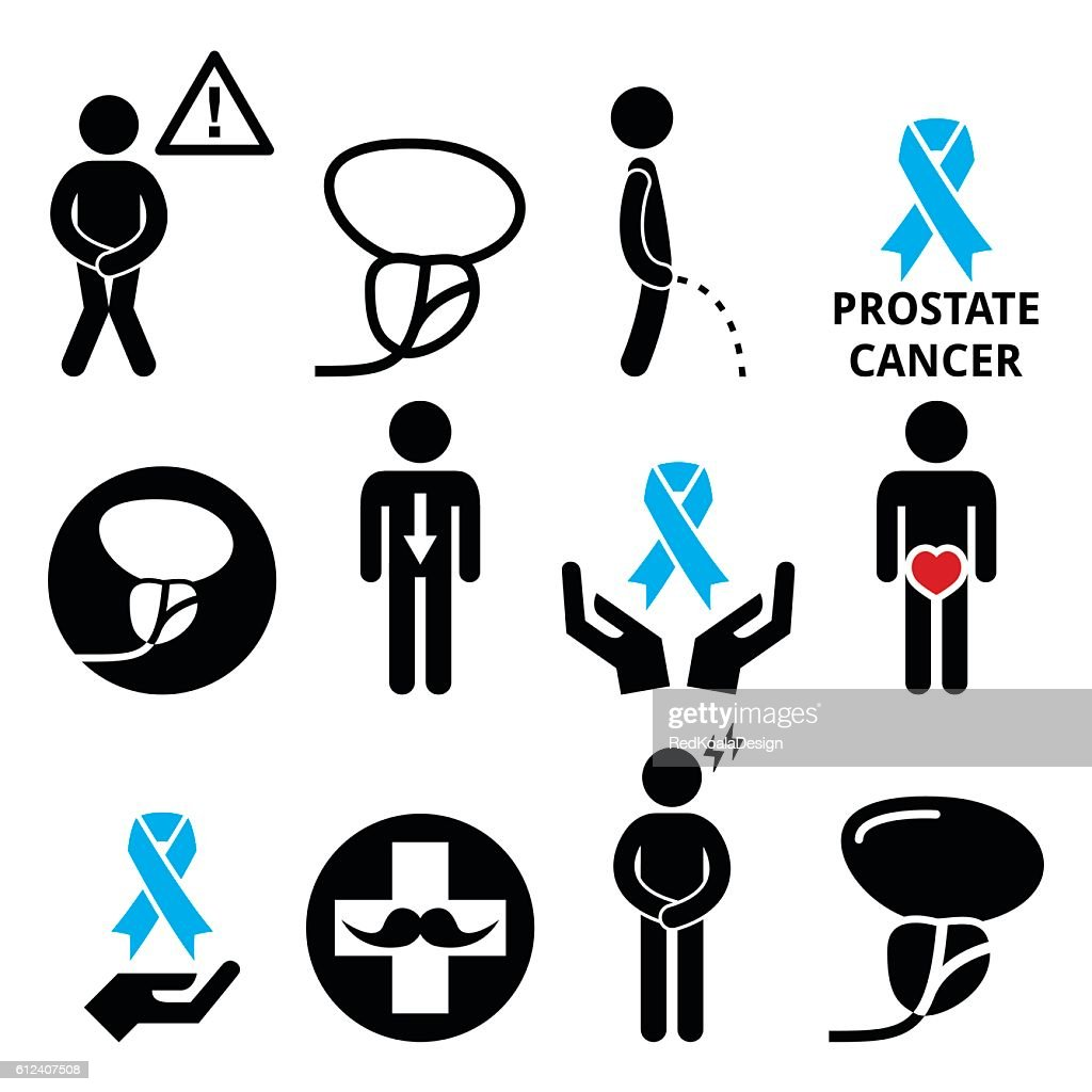 Prostate cancer awareness, men's health icons set