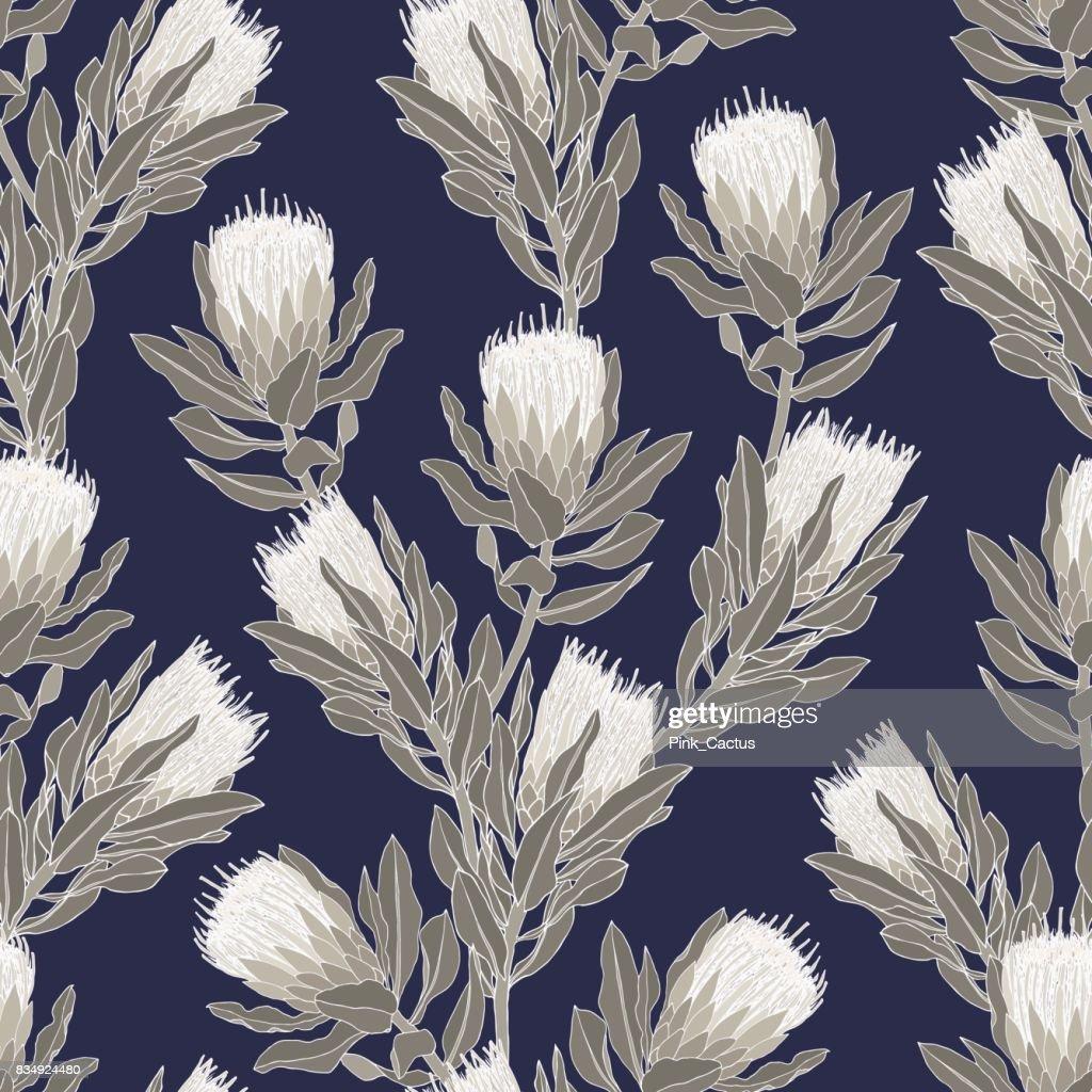 Protea Vector Pattern - Indigo