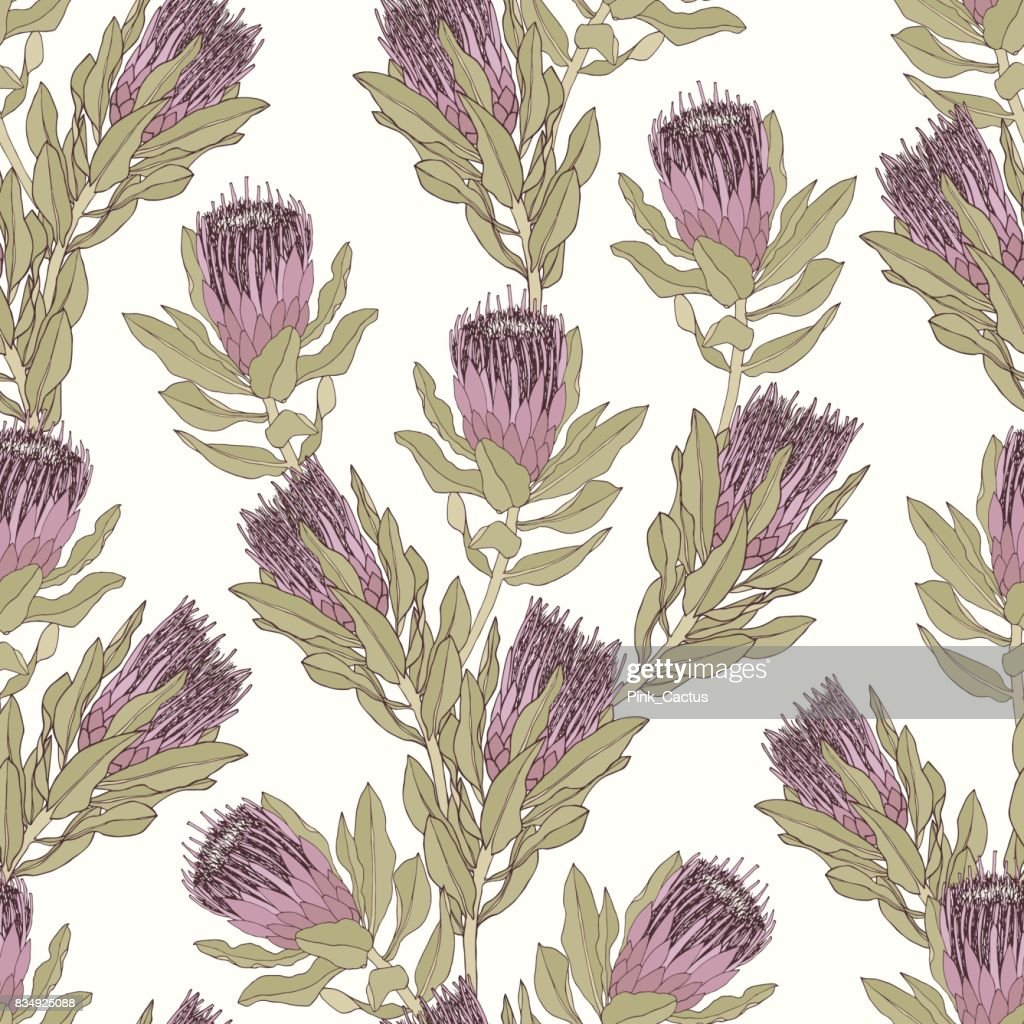 Protea Vector Pattern - Mauve and Green