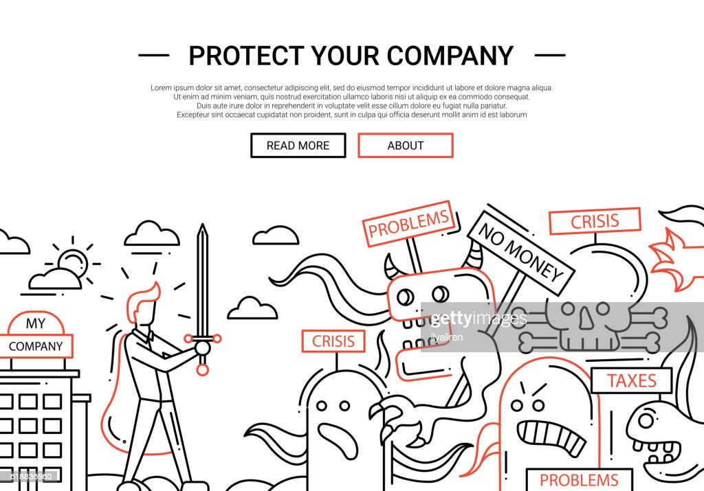 Protect Your Company - line design website banner temlate