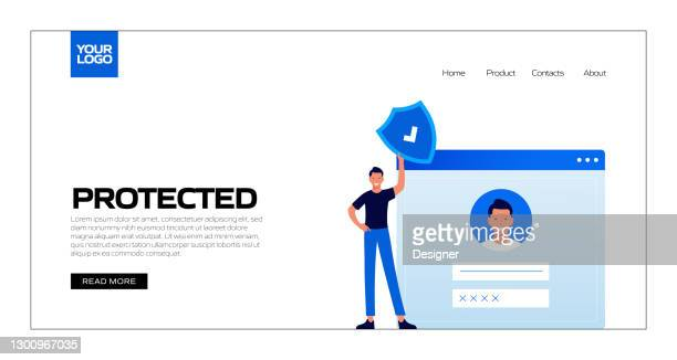 protected concept vector illustration for landing page template, website banner, advertisement and marketing material, online advertising, business presentation etc. - verification stock illustrations