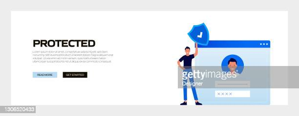 protected concept vector illustration for website banner, advertisement and marketing material, online advertising, business presentation etc. - verification stock illustrations