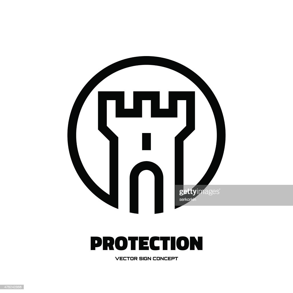 Protection - abstract tower - vector logo concept illustration.